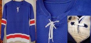 画像1:  ビンテージ フットボール レースアップ トリコロール Tシャツ