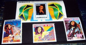 画像1: ボブ・マーリー 生誕50周年記念切手 Jamaica 50th Anniversary of the Birth of Bob Marley Stamps