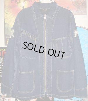 画像1: Jah Lion Denim Zip Jacket